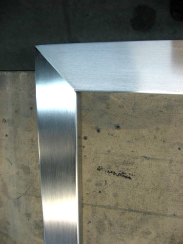 Satin stainless mitered corner